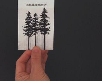 Waldeinsamkeit. Woodland solitude. Typewriter Love, Original watercolour freehand painting