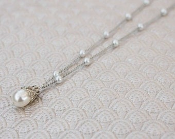 Simple Pearl & Silver Chain Necklace - Dainty Elegance