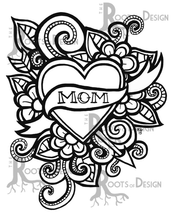 INSTANT DOWNLOAD Coloring Page Mom Tattoo style / by ...