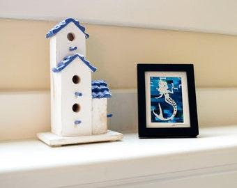 Mini Mermaid Original Paper Cut Art - Collage Silhouette Blue Nautical Mermaid