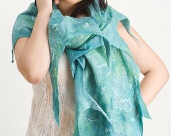"""Felted scarf  """"Oceans""""  OOAK Art to Wear wrap, shawl, cobweb wool shawl, wool wrap, felted shawl"""