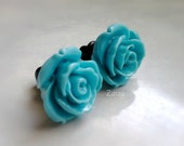 Blue Rose Plugs for Gauged Ears Sizes 9/16 Inch, 1/2 Inch, 00g, 0G, 2G, 4G , 6G, 4mm, 5mm, 6mm, 8mm, 10mm