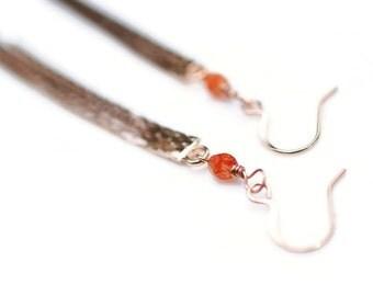 Tassel Earrings, Carnelian Earrings, Rose Gold Tassel Earrings, Snake Tassel Earrings, Rose Gold Earrings, Long Earrings