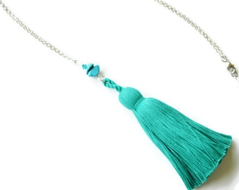 Teal Tassel Necklace, Magnesite, Swarovski, Silver Rhodium Long Necklace, Teal Beaded, Statement Necklace