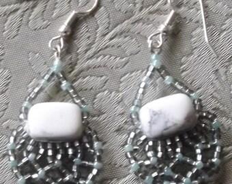 Howlite Earrings with Netting