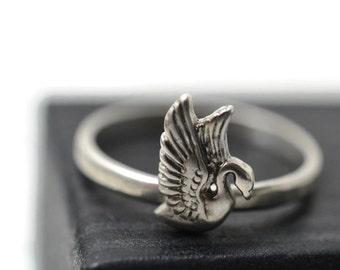 Silver Swan Ring, Sterling Bird Jewelry, Silver Bird Ring, Animal Jewelry, Sterling Silver Swan Jewelry