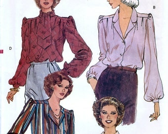 Vogue 7819 Vintage 80s Misses' Blouse and Tie Sewing Pattern - Uncut - Size 14 - Bust 36