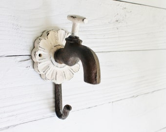 Iron Wall Hook-Rustic Cast Iron - Dog Leash Holder -Distressed Metal-Faucet Wall Decor-Romantic Gifts-Autumn Fall Home-December Trends
