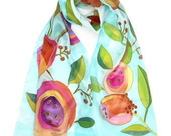 Romantic Peach Flowers Silk Scarf Hand Painted. Original Painting on Silk. Fashion Gift. French Silk Dyes. Peach Blue