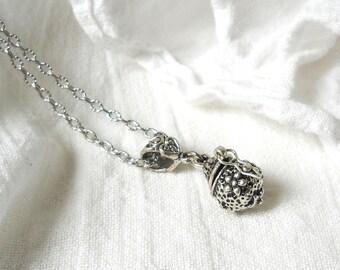 SALE prayerbox pendant necklace prayerbox necklace boho necklace silvertone pendant necklace pendant necklace   M