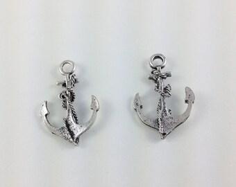 Antique Silver Anchor Charms - 9 Pieces