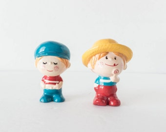 Small Painted Chalkware Boy Figurines Cute Kitsch 1960s 1970s Made in Japan
