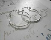 """Silver Hoop Earring 1.5"""" Silver Hinged Hoops Hammered Wire Jewelry Brushed Metal Earring Rustic Earring 1.5"""", 2"""", 2.5"""", 3"""""""
