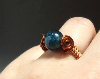 Teal blue ring, Cocktail ring, deep blue glass ring, handmade jewelry, copper jewelry, size US 6