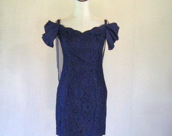 Blue & Purple Lace Sweetheart Wiggle Dress