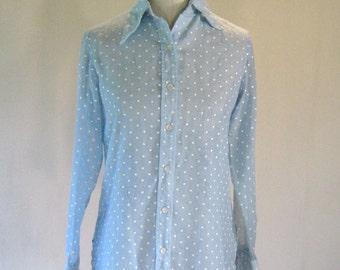Sky Blue Polka Dot Button Down Shirt Top
