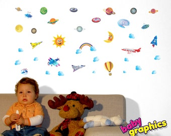 airplanes/ aeroplanes hot air balloon UFOs planets wall decals - repositionable (by babygraphics)