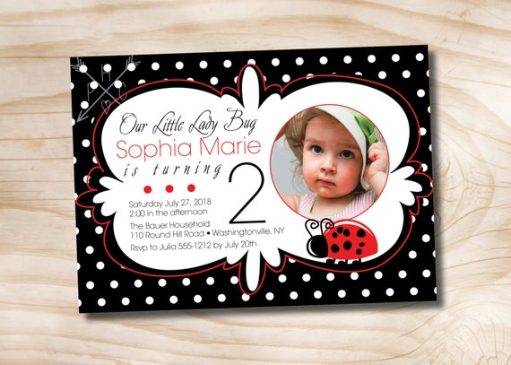 Little Ladybug Birthday Party Invitation -  Printable Invitation