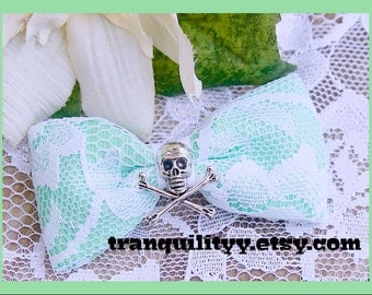 Mint Green Hair Bow , Pastel  White Lace Skull Hair Bow ,GOREgeous ,White Lace Skull  Hair Bow, Scene, Hispter, Handmade By: Tranquilityy