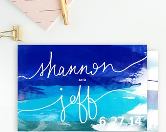 Blue, Turquoise, & Teal - Watercolor, Handwritten - Save the Date Postcards