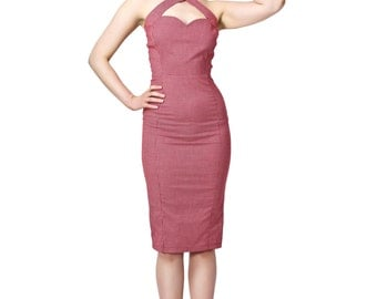 Vintage Style Red Gingham Halterneck Pencil/wiggle Dress Rockabilly Pin Up 50s
