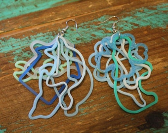blue beachy silly bands dangly earrings