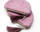 SALE Lilac Leather Suede Coin Purse tassel feather  CP-2022