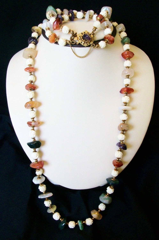miriam haskell vintage jewelry semi precious jade amethyst