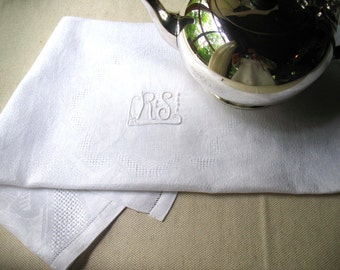 Vintage Linen Table Cloth - French Tea Table Cover-Monogrammed Family Heirloom Linens
