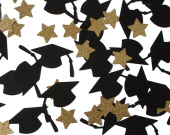 50 Graduation Confetti, Graduation Cap and Stars Confetti, Graduation Party Decorations - No1086