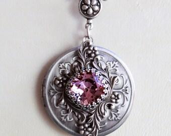 Amethyst  Locket, Silver Locket,Jewelry,Necklace, Purpel Birthstone Locket, Rhinestone Locket,Flower,Wedding Necklace,bridesmaid,