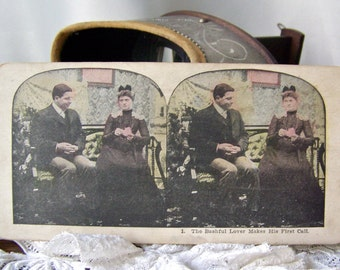 Antique Stereoview Cards Bashful Lover 3D Cards Stereograph Cards Stereoscope Cards ca. 1908