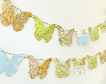 Butterfly bunting, Map Bunting,  paper garland, Merseyside map butterflies, banner, map garland, butterfly gift, nursery decor