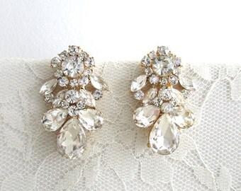 Rhinestone Earrings Wedding Bridal Dangle Zirconia diamond Jewelry Bridal Jewelry Chunky Clear Rhinestone