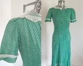 1930s Art Deco Dress Green Dress Puff Sleeves Swiss Dot Lace XS S