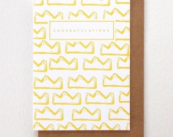 Crown Congratulations Letterpress Card