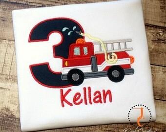 Fire Truck Birthday Shirt - Fire Truck Birthday, Fire Truck Party, Boys First Birthday Outfit, Boys Birthday Shirt, Toddler Boys Birthday