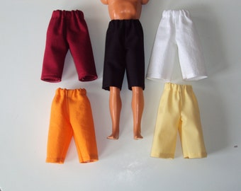 """NEW 5 pair Long Solid Color Shorts for 12"""" Fashion Dolls ~ Clothes for Barbies Friend Ken"""