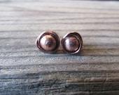 Antiqued Copper Post Stud Earrings, Wire Wrapped, Artisan Copper Earrings