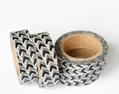 WASHI TAPE CLEARANCE - 1 Roll of Black and White Arrows Washi Tape / Decorative Masking Tape (.60 inches wide x 33 feet long)