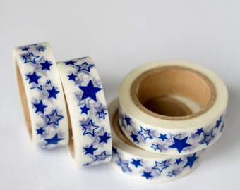 WASHI TAPE CLEARANCE - 1 Roll of Royal Blue and White Stars Washi Tape / Decorative Masking Tape (.60 inches x 33 feet)