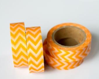 WASHI TAPE CLEARANCE - 1 Roll of Orange and White Chevron Zig Zag Washi Tape / Decorative Masking Tape (.60 inches wide x 33 feet long)