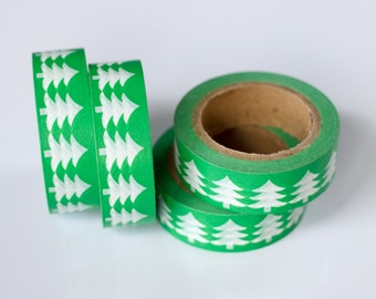 WASHI TAPE CLEARANCE - 1 Roll of Kelly Green Christmas Holiday Evergreen Trees Washi Tape (.60 inches wide x 33 feet long)