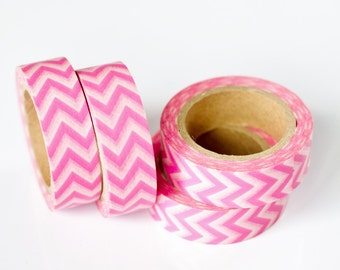 50% OFF SALE - 1 Roll of Pink and White Chevron Zig Zag Washi Tape / Decorative Masking Tape (.60 inches wide x 33 feet long)