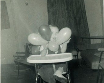 "Vintage Photo ""Balloon Face"" Funny Children Snapshot Photo Old Photo Black & White Photography Found Photo Paper Ephemera Vernacular - 121"