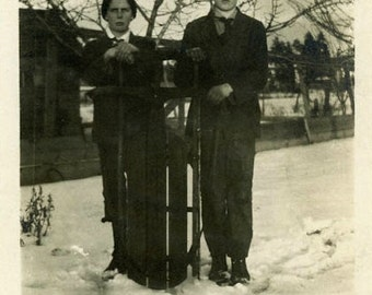 "Vintage Photo ""Disappointed with Snow"" Snapshot Photo Old Antique Photo Black & White Photography Found Photo Paper Ephemera Vernacular - 71"