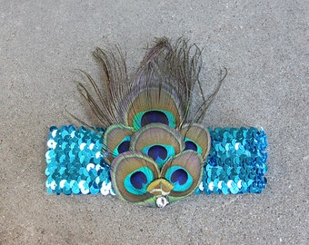 Halloween Mardi Gras Peacock Feather Flapper Headdress Costume Piece - Teal
