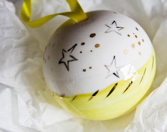 unique chrismas gift, ceramic christmas bauble, bright yellow, gold, white, christmas star, neutral impersonal gift by karoArt ceramics