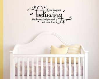 If you keep on believing the dream wish - Vinyl Wall Art Cinderella Quote, Vinyl Decal, Disney Bedroom, Cinderella, Vinyl Lettering, 19x8