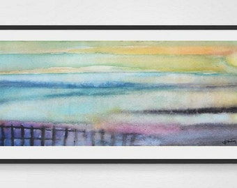 """Sunset Relaxes   - Original Watercolor Painting - lake, seascape - Landscape Painting - Panoramic Painting 6""""x12"""""""